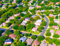 Green landscape Round Rock , Texas , USA aerial drone view high above Suburb Neighborhood with Vast